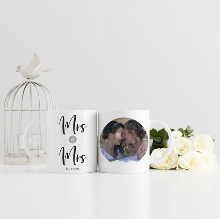 Picture of Mrs & Mrs Wedding Photo Personalised Mug
