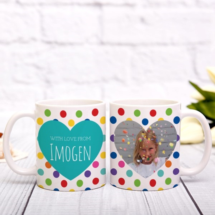 Picture of Spotty heart photo personalised mug
