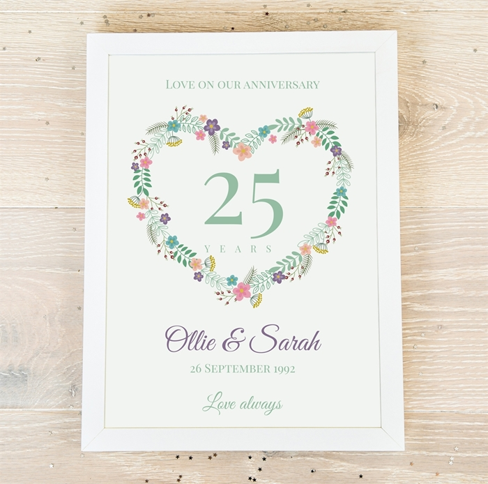Picture of A4 Anniversary Heart personalised poster
