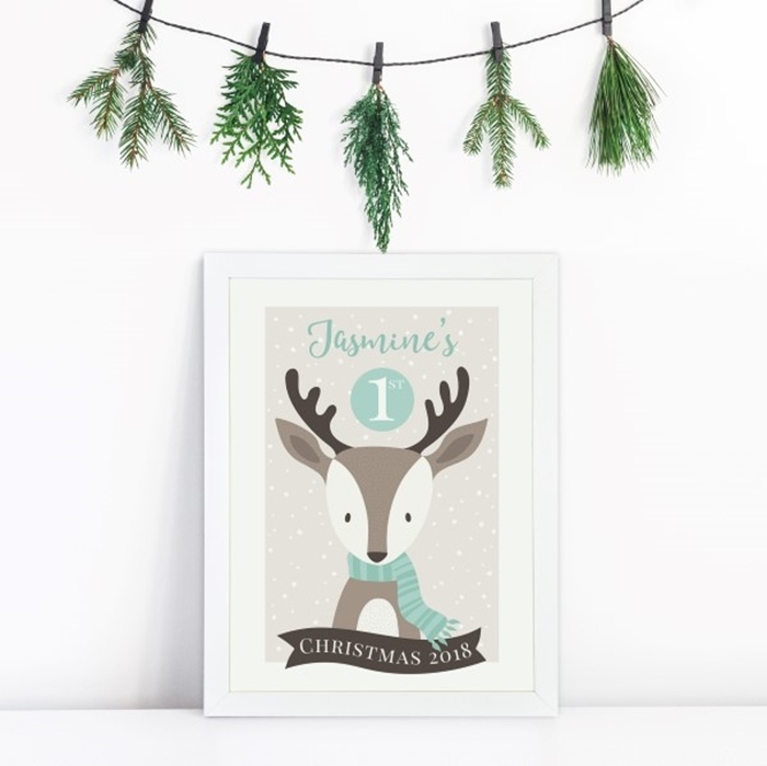 Picture of A4 1st Christmas Reindeer personalised poster
