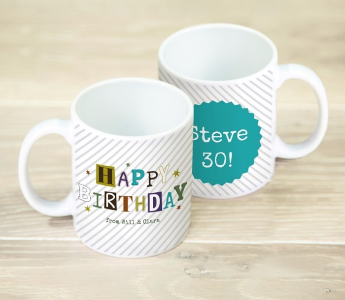 Picture of Happy Birthday Stripes personalised mug