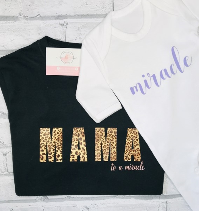 Picture of Mama and baby miracle personalised tee and sleepsuit