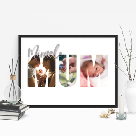 Picture of A3 Miracle Mum photo personalised poster