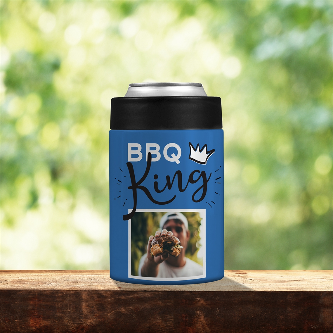 Picture of BBQ King Blue Stainless Steel Koozie