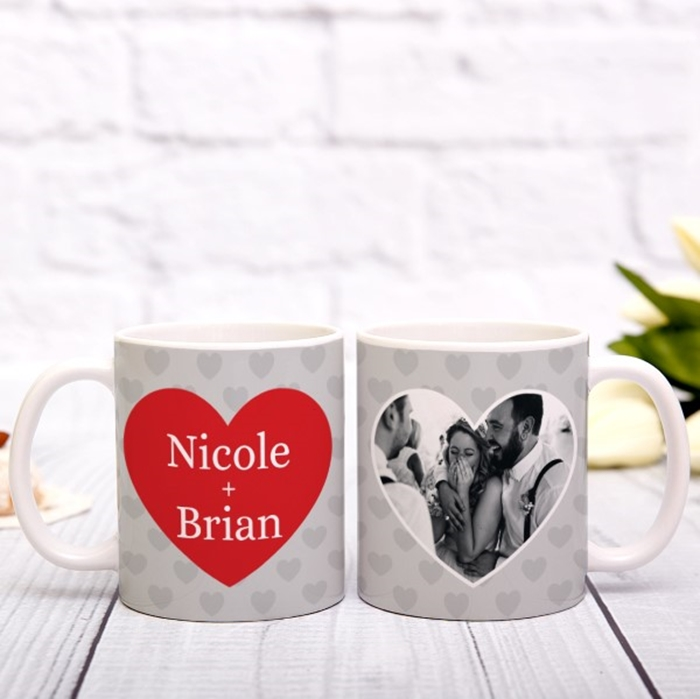 Picture of Love heart photo personalised mug