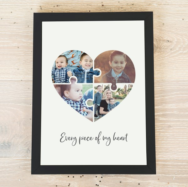 Picture of A4 Jigsaw Heart Photo personalised poster