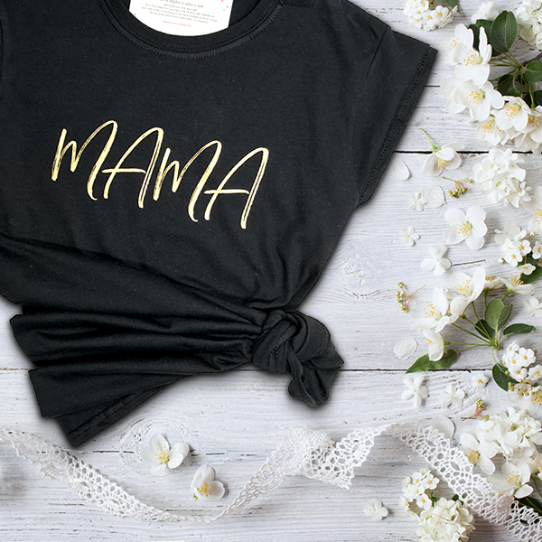 Picture of Mama script personalised black t-shirt