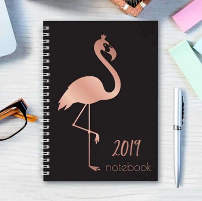 Picture of Pre-made A5 flamingo spiral notebook