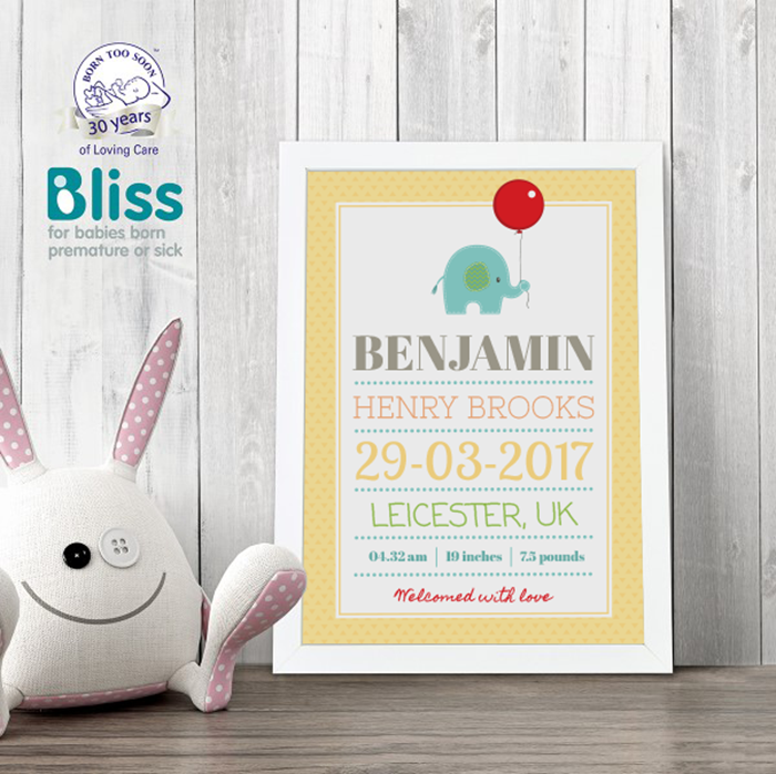 Picture of Cute Elephant New Baby personalised poster