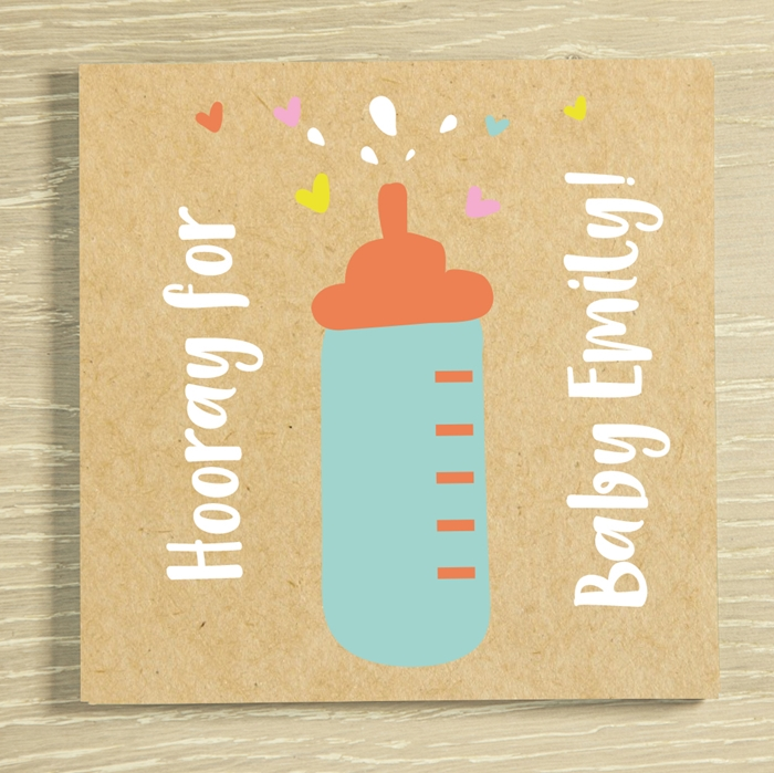 Picture of New Baby Bottle personalised chocolate card