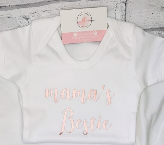 Picture of Rose gold Mama's Bestie baby grow