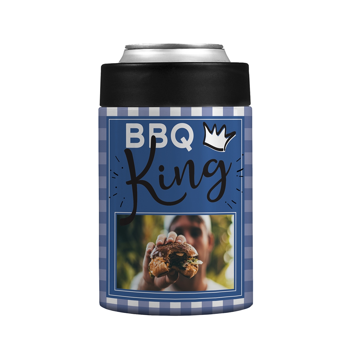 Picture of BBQ King Plaid Stainless Steel Koozie