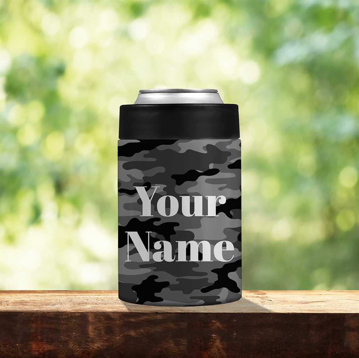 Picture of Camo Black Stainless Steel Koozie