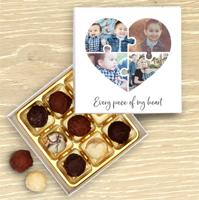 Picture of Heart jigsaw Personalised Chocolate Box