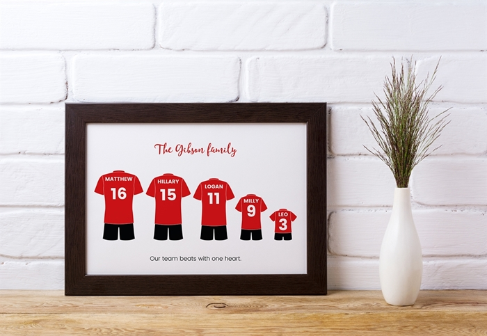 Picture of A4 football kit family personalised poster