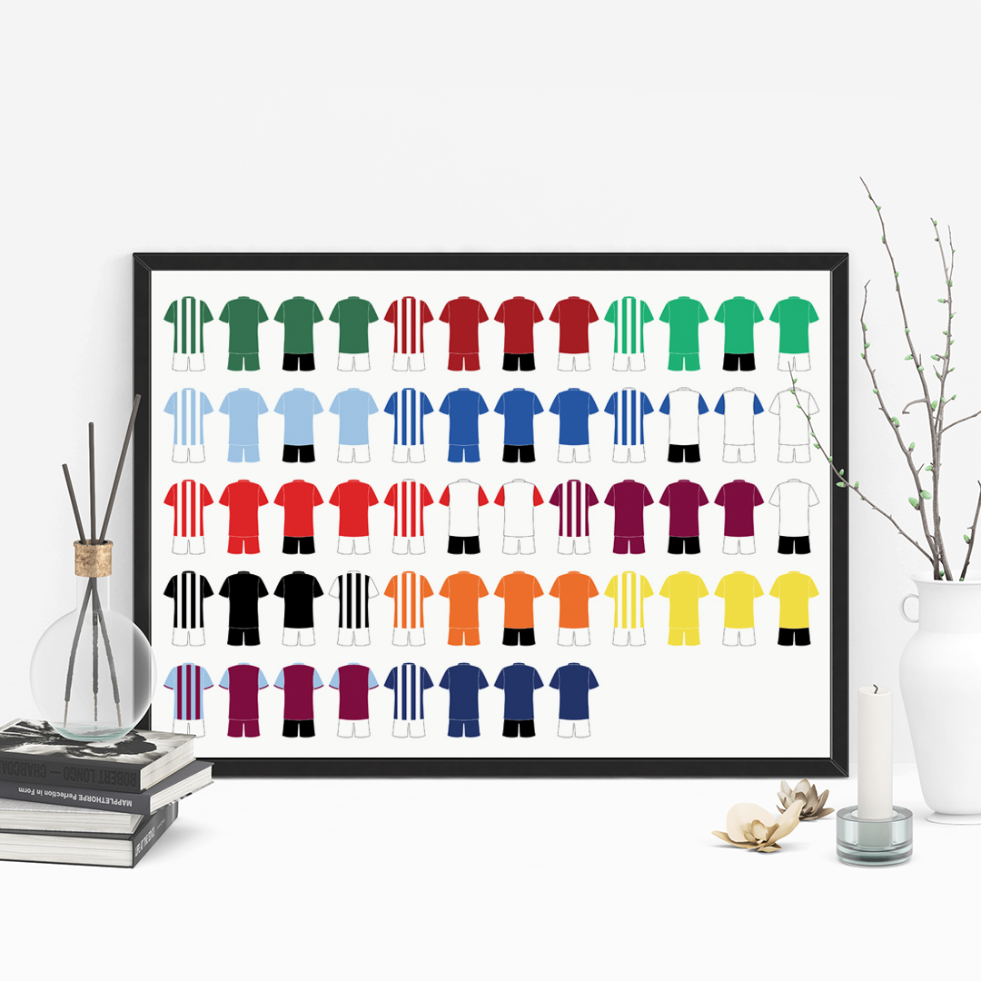 Picture of A4 6 football kit family personalised poster