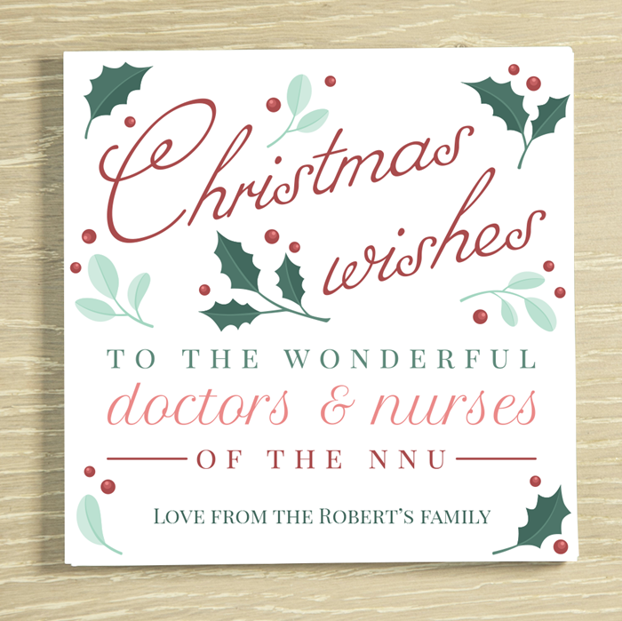 Picture of Christmas Wishes to the NNU Personalised Chocolate Card