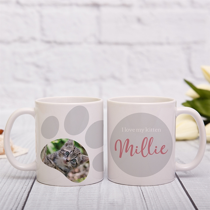 Picture of Paw print photo personalised mug