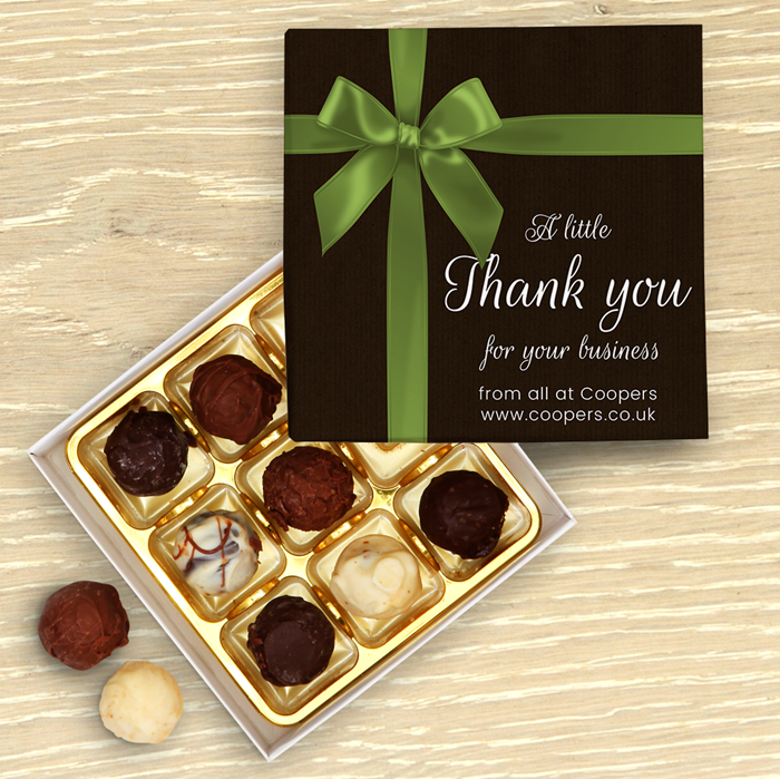Picture of Corporate Thank You Bow Personalised Chocolate Box