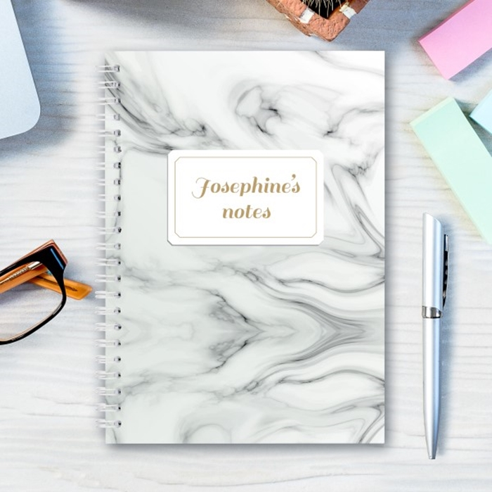 Picture of A5 marble spiral personalised notebook