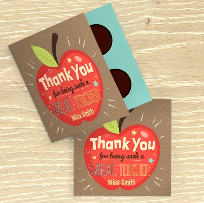 Picture of Teacher Thank You personalised chocolate card