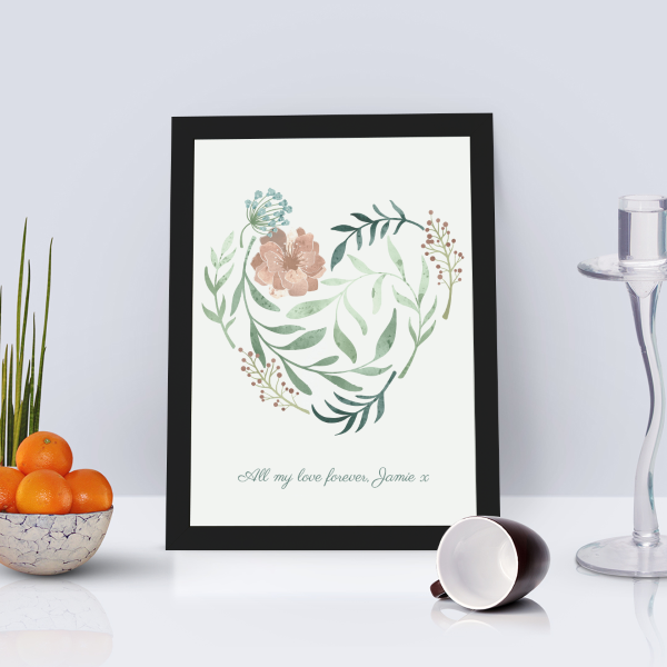 Picture of A4 Heart in bloom personalised poster