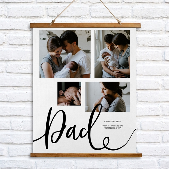 Picture of Dad Script Wooden Wall Tapestry
