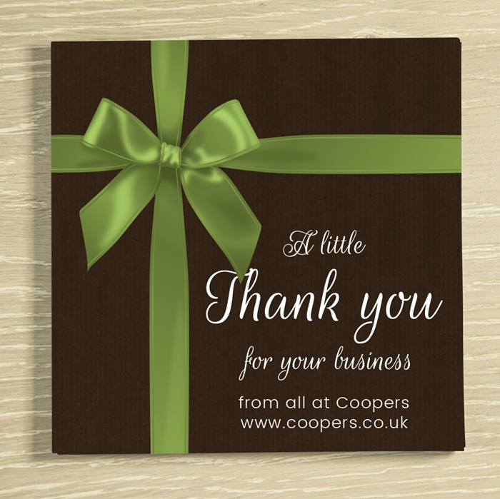 Picture of Thank you bow personalised chocolate card