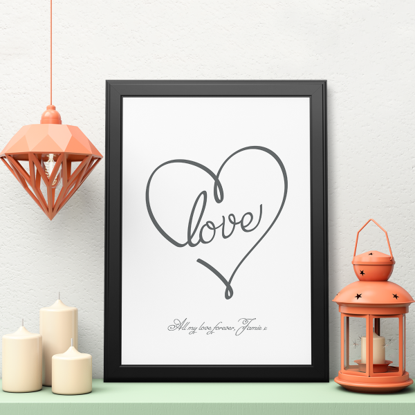 Picture of A3 Love Heart personalised poster