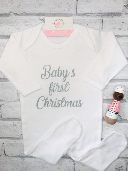 Picture of Baby's sparkly personalised white sleepsuit