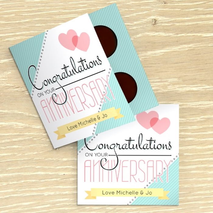 Picture of Anniversary Congratulations personalised chocolate card