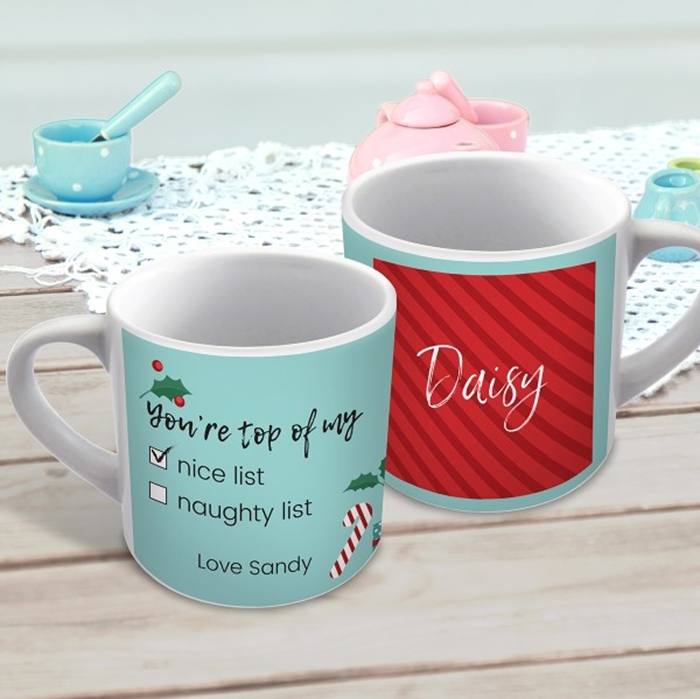 Picture of Nice list Christmas child's personalised mug