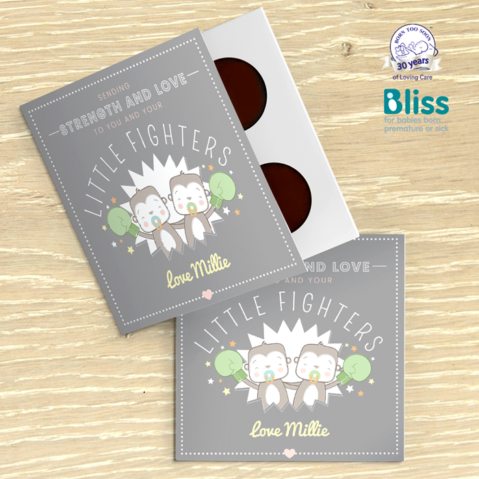 Picture of Twin Little Fighters premature baby personalised chocolate card