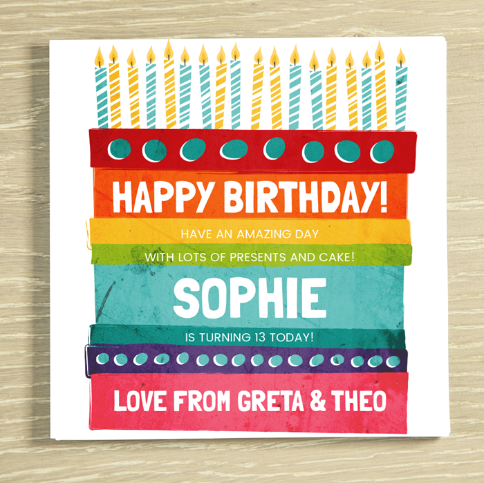 Picture of Happy Birthday Cake personalised chocolate card