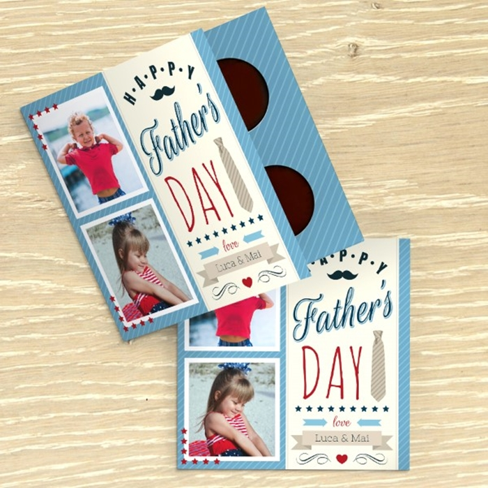 Picture of Happy Father's Day personalised chocolate Card