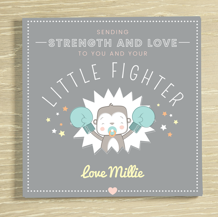 Picture of Little fighter premature baby personalised chocolate card