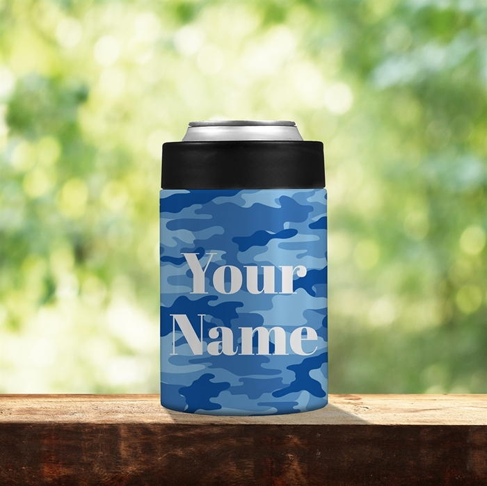 Picture of Camo Blue Stainless Steel Koozie