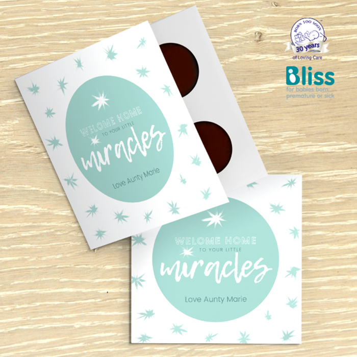 Picture of Miracle baby congratulations personalised chocolate card