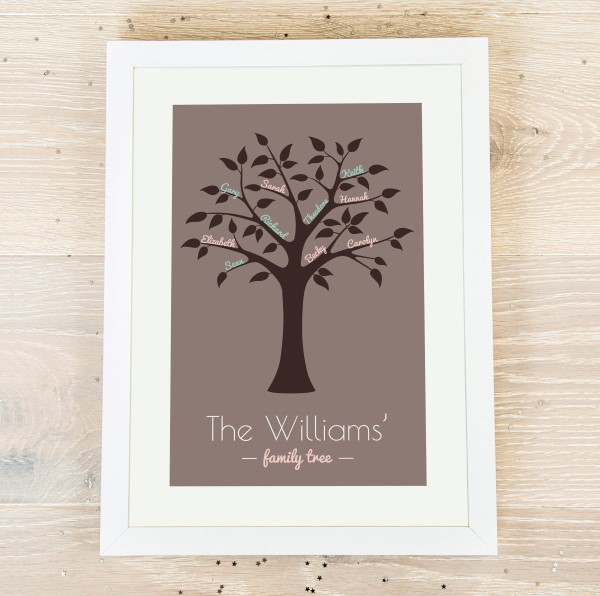 Picture of A4 Framed Family Tree personalised poster