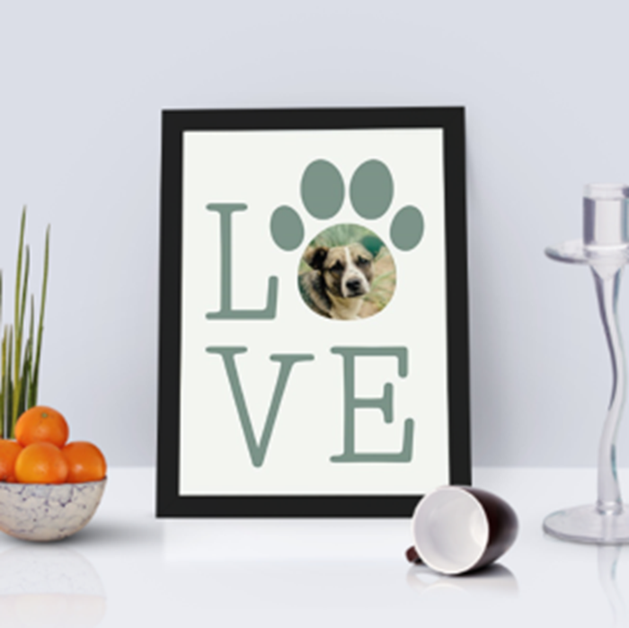 Picture of A4 Love Paw personalised poster