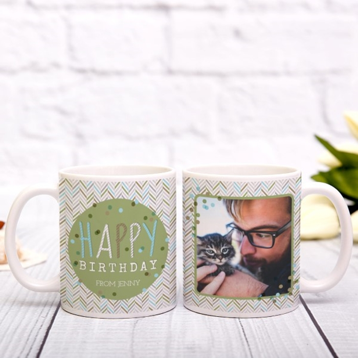 Picture of Happy Birthday zig zag personalised photo mug