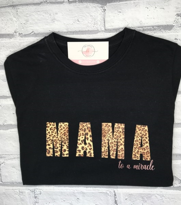 Picture of Mama to a miracle personalised black t-shirt